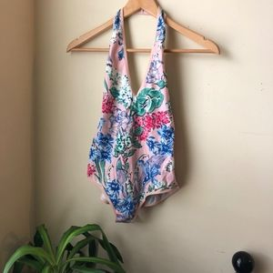 Pink Tropical Floral Halter Bodysuit Size Medium